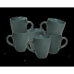 EC-REGI6MUG Mugs Régina vert canard en grès émail réactif x 6 Ard'time