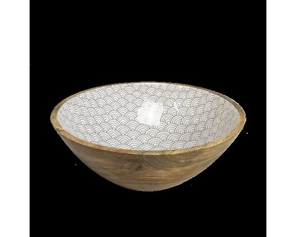 """Saladier grand modèle en bois de manguier massif intérieur laqué """"Slow"""" design asiatique gris anthracite Ard'time EC-SLOSALGM"""