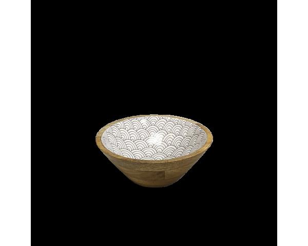 """Saladier petit modèle en bois de manguier massif intérieur laqué """"Slow"""" design asiatique gris anthracite Ard'time EC-SLOSALPM"""