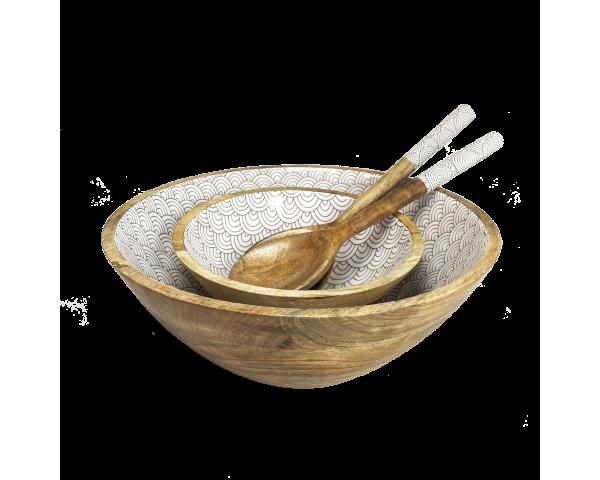 service à salade complet en bois de manguier massif intérieur laqué Slow design asiatique gris anthracite Ard'time