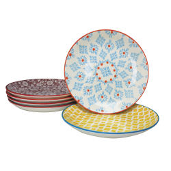 Assiette à dessert Sabae design ethnique diam 20 cm lot de 6