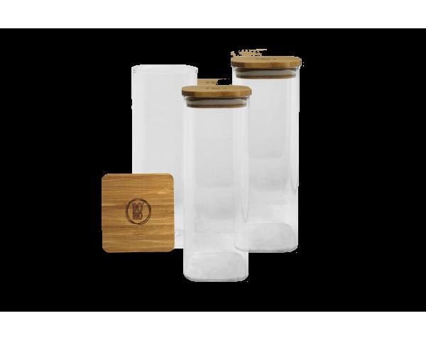 3 Bocaux de conservation Bo Byo 1000ML en verre borosilicate et couvercle en bois de bambou EC-3BOCAR1000