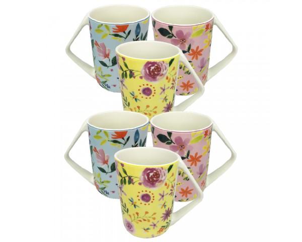 """EC-6FLOMUGTRI Mug Design """"Flowers"""" inspiration printanière et florale, classique aux motifs de plantes & fleurs."""