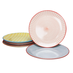 Assiette ronde Sabae design ethnique diam 26.5 cm lot de 6
