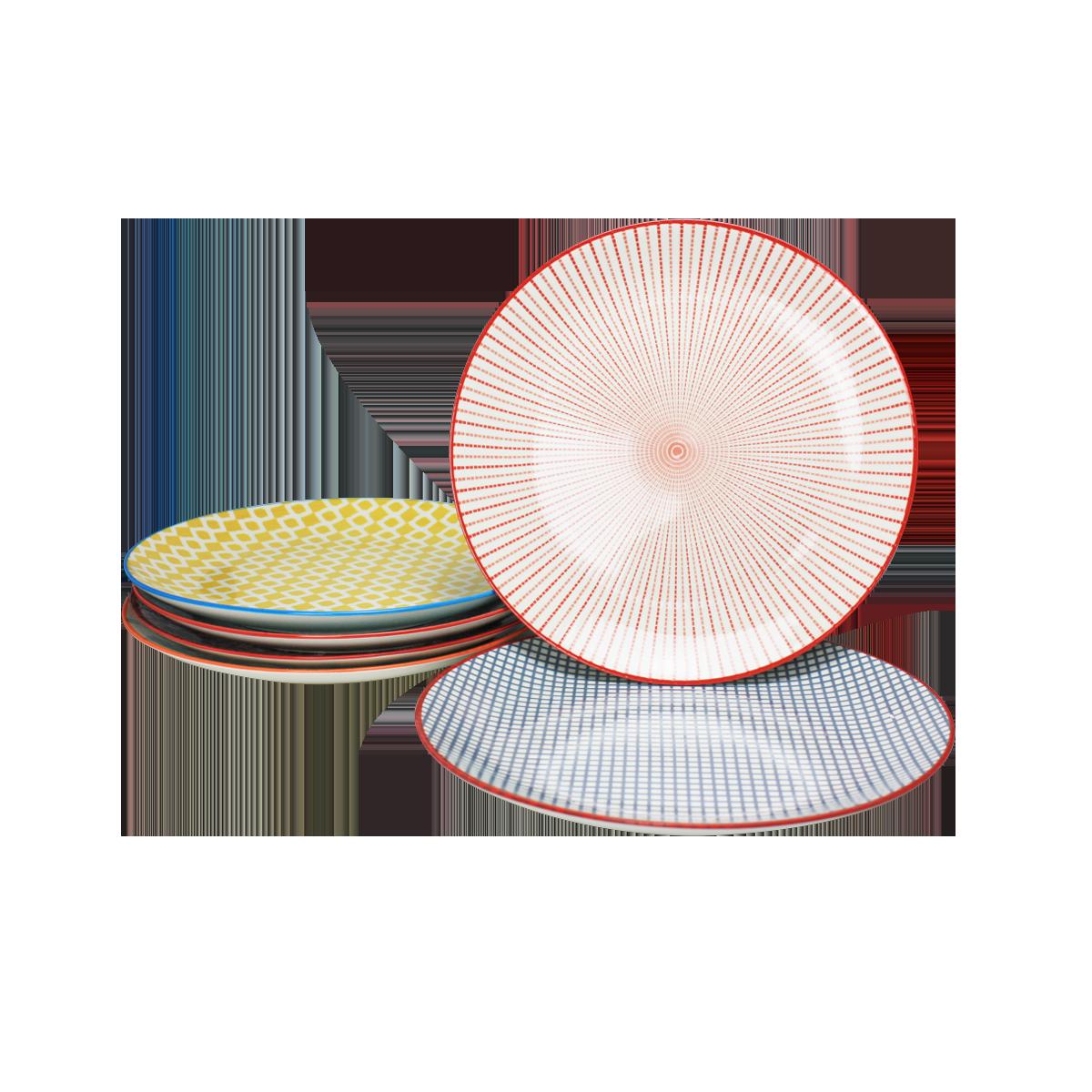 Assiette ronde Sabae design ethnique diam 26.5 cm lot de 6