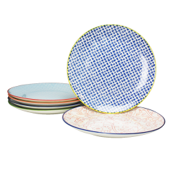 Assiette ronde Sabae multicolore diam 26.5 cm lot de 6