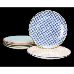 Assiette ronde Sabae multicolore diam 26.5 cm lot de 6