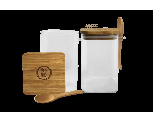 2 Bocaux de conservation Bo Byo 1100ML en verre borosilicate couvercle et cuillère en bois de bambou EC-2BOPOCUILGM