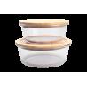 2 Plats Ronds Bo Byo 620ML et 950ML en verre borosilicate couvercle en bois de bambou EC-2BOPOCUILPM