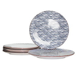 Grande assiette Nami design vague asiatique bleu diam 26 cm lot de 6 EC-6NAMIAS26