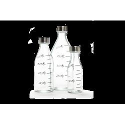 Lot de 3 bouteilles en verre avec mesures, Graduation