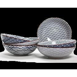 Assiette creuse Nami Ard'time design vague asiatique bleue