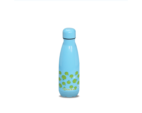 Bouteille Isotherme Turquoise Motif Pomme Verte finition Brillante 350ML Duck'